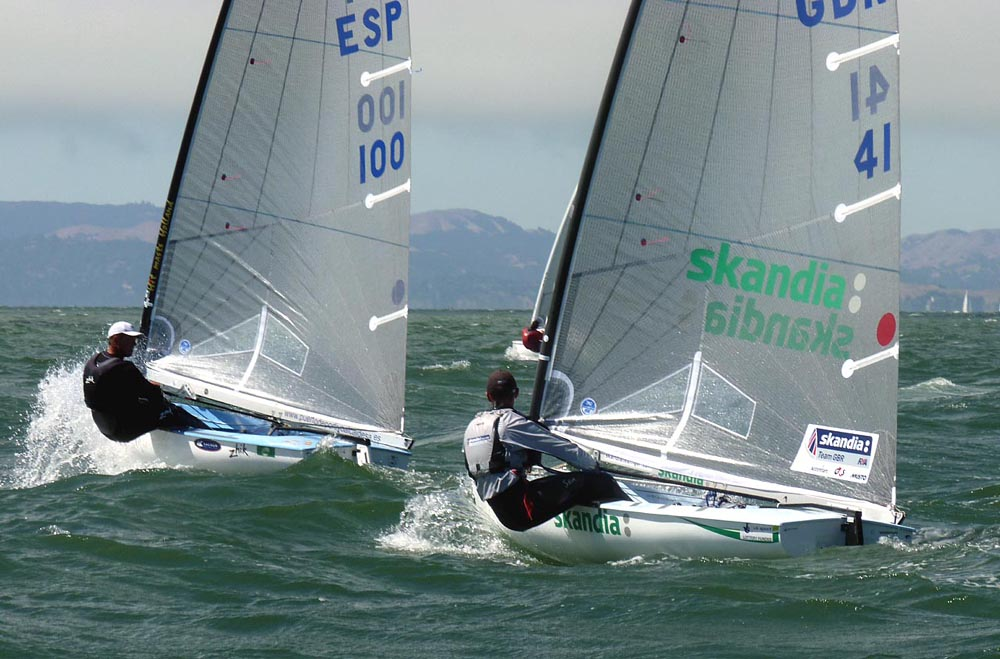 Rafael Trujillo covering Giles Scott in the medal race. Knowing where to point the camera to tell the story