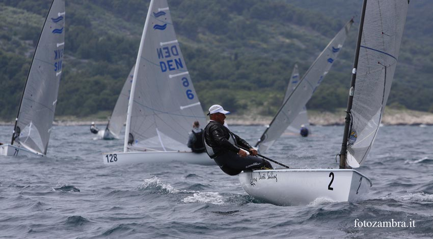 Michael Maier leads Lars Hall at the 2010 Finn World Masters