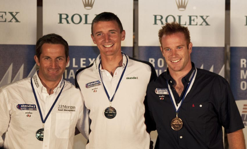 Ainslie, Scott, Mills, Top three in Miami. Pic: Rolex/Daniel Forster